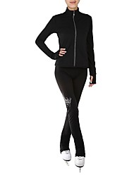 cheap -Figure Skating Jacket with Pants Women's Girls' Ice Skating Pants / Trousers Tracksuit Top Black Spandex Inelastic Training Competition Skating Wear Solid Colored Long Sleeve Ice Skating Figure