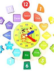 Недорогие -Деревянные часы Игрушка Сортировщика Формы Обучающая игрушка Для школы Для детской Новый дизайн Животный принт Монограмма Детские Игрушки Подарок