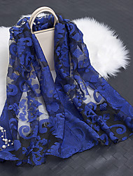 cheap -Women's Cotton / Polyester Rectangle Scarf - Embroidered / Flower