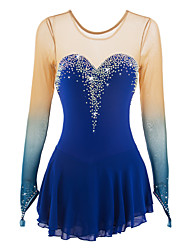 cheap -21Grams Figure Skating Dress Women's Girls' Ice Skating Dress Aquamarine Halo Dyeing Spandex Elastane Competition Skating Wear Handmade Jeweled Rhinestone Long Sleeve Ice Skating Figure Skating