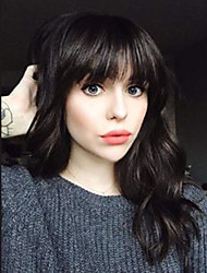 cheap -Human Hair Wig Medium Length Wavy Layered Haircut With Bangs Wavy Machine Made Women's Black#1B 14 inch