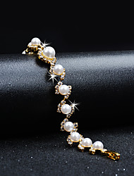 cheap -Women's Cubic Zirconia Chain Bracelet Elegant Vintage Pearl Bracelet Jewelry Gold For Wedding Evening Party / Crystal