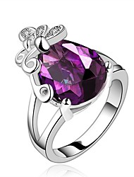 cheap -Women's Band Ring Synthetic Amethyst Cubic Zirconia High End Crystal One-piece Suit Purple Zircon Gold Plated Silver Circle Geometric Vintage Basic Fashion Wedding Engagement Jewelry Drop Crown