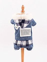 cheap -Dog Jumpsuit Dog Clothes Plaid / Check Blue Cotton Costume For Spring &  Fall Winter Men's Women's Casual / Daily