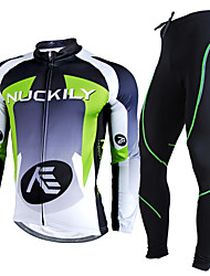 cheap -Nuckily Men's Long Sleeve Cycling Jersey with Tights Red / black Green+Gray Stripes Patchwork Bike Clothing Suit Thermal / Warm Breathable 3D Pad Winter Sports Polyester Fleece Stripes Clothing