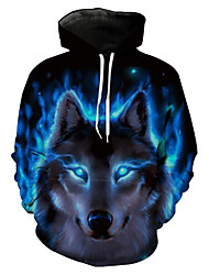 cheap -Men's Plus Size Hoodie Wolf 3D / Animal Print Hooded Long Sleeve Blue S M L XL XXL XXXL / Spring / Winter