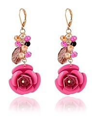 cheap -Women's Drop Earrings Flower Ladies Classic Elegant Fashion Crystal Resin Earrings Jewelry Fuchsia / Green / Dark Blue For Daily 2pcs