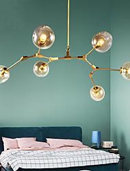 cheap -6-Light 6-Head Northern Europe Vintage Golden Chandelier Glass Molecules Pendant Lights Living Room Bedroom Dining Room