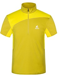 cheap -Men's Hiking Tee shirt Short Sleeve Outdoor Trainer Breathability Comfortable Tee / T-shirt Summer Polyester Running Camping / Hiking Hunting Yellow Green Blue