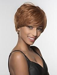 cheap -Human Hair Wig Short kinky Straight kinky straight Side Part Machine Made Women's Black#1B Medium Auburn Medium Auburn / Bleach Blonde 8 inch