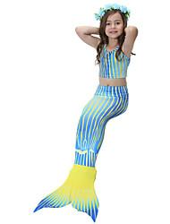 abordables -Enfants Fille Actif Sports Sirène Petite Sirène Imprimé Bandes Couleur mixte Sans Manches Coton Maillot de Bain Bleu