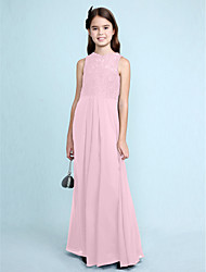 cheap -Sheath / Column Scoop Neck Floor Length Chiffon / Lace Junior Bridesmaid Dress with Lace / Natural