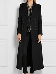 cheap -Women's Casual / Daily Winter Maxi Coat, Solid Colored Notch Lapel Long Sleeve Cotton / Acrylic Oversized Black