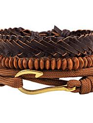 cheap -Men's Women's Bead Bracelet Wrap Bracelet Leather Bracelet Wave Gothic Fashion Hip-Hop Wooden Bracelet Jewelry Brown For Daily Evening Party