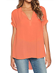 cheap -Women's Holiday Casual / Daily Weekend Street chic Blouse - Solid Colored V Neck Gray