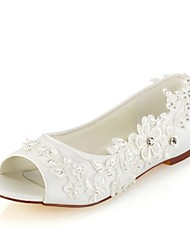 cheap -Women's Wedding Shoes Flat Heel Peep Toe Crystal / Pearl Stretch Satin Basic Pump Spring / Summer Ivory / Party & Evening