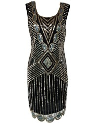 cheap -The Great Gatsby Charleston 1920s Flapper Dress Cocktail Dress Women's Sequins Costume Black Vintage Cosplay Party Prom Sleeveless Short / Mini