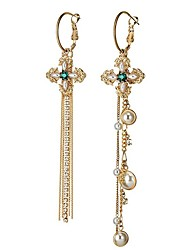 cheap -Women's Pearl Drop Earrings Mismatched Long Stacking Stackable Flower Ladies European Fashion Imitation Pearl Earrings Jewelry Gold For Party