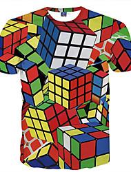 cheap -Men's T shirt Graphic Geometric Print Short Sleeve Daily Tops Streetwear Punk & Gothic Red