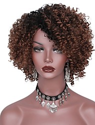 cheap -Synthetic Wig Afro Afro Layered Haircut Wig Short Black / Brown Grey Synthetic Hair Women's Dark Roots Brown