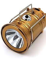 Недорогие -Походные светильники и лампы Аварийные лампы 300 lm Светодиодная лампа LED излучатели Автоматический Режим освещения Плотное облегание Солнечная энергия Золотой
