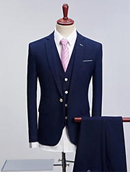 cheap -Navy Blue Pattern Standard Fit Polyester Suit - Peak / Turndown Single Breasted One-button / Suits