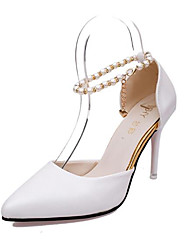 cheap -Women's Heels Stiletto Heel Pointed Toe Patent Leather Basic Pump Spring / Fall White / Black / Pink / 3-4