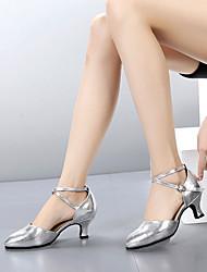 abordables -Mujer Zapatos de Baile Moderno Salón Tacones Alto Tacón Personalizado Rojo Plata Dorado Cierre anillo + palillo Zapatos brillantes / Interior / EU41
