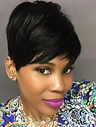 cheap -Human Hair Capless Wigs Human Hair Natural Wave Pixie Cut / Short Hairstyles 2019 Halle Berry Hairstyles Side Part Short Machine Made Wig Women's