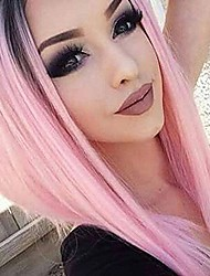 cheap -Women Synthetic Wig Short Kinky Straight Black/Pink Ombre Hair Layered Haircut Natural Wigs Costume Wig