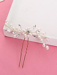 billige -Imiteret Perle / Rhinsten Hair Stick / Hair Pin med Bjergkrystal / Imitationsperler 1pc Bryllup Medaljon