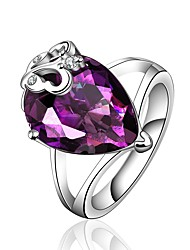 cheap -Women's Band Ring Synthetic Amethyst Cubic Zirconia One-piece Suit Purple Zircon Silver Geometric Vintage Basic Fashion Wedding Engagement Jewelry Drop