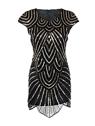 cheap -The Great Gatsby Charleston 1920s Roaring Twenties Roaring 20s Flapper Dress Cocktail Dress Women's Sequins Costume Black Vintage Cosplay Party Homecoming Prom Short Sleeve Short / Mini