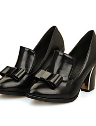 cheap -Women's Heels Chunky Heel Pointed Toe Bowknot PU Comfort / Novelty Spring / Fall Black / White / Red / Dress / 3-4