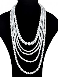 cheap -Women's Layered Necklace Long Necklace Layered Ladies Fashion Multi Layer Imitation Pearl Alloy White Necklace Jewelry For Wedding Party Masquerade Engagement Party Prom Going out