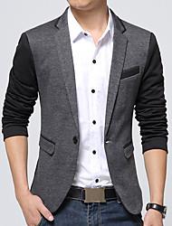 cheap -Men's Daily / Work Fall / Winter Plus Size Regular Blazer, Color Block V Neck Long Sleeve Cotton / Acrylic / Polyester Dark Gray / Gray