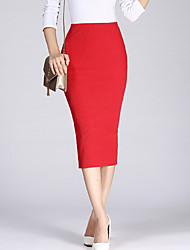 cheap -Women's Casual / Daily Bodycon Skirts - Solid Colored Split High Waist Black Wine Red One-Size