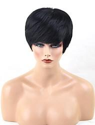 Недорогие -Человеческие волосы Парик Короткие Прямой Стрижка под мальчика Короткие Прически 2020 Прямой силуэт Боковая часть Машинное плетение Жен. Черный Medium Auburn Бежевый Blonde / Bleached Blonde 8 дюйм