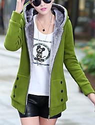 Недорогие -Жен. На выход На каждый день / Уличный стиль Осень Обычная Пальто, Однотонный Капюшон Длинный рукав Хлопок / Нейлон Темно-серый / Желтый / Винный