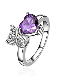 cheap -Women's Band Ring Synthetic Amethyst Cubic Zirconia High End Crystal One-piece Suit Purple Zircon Gold Plated Silver Vintage Basic Fashion Wedding Engagement Jewelry Princess Heart Flower