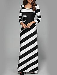 cheap -Women's Party Holiday Street chic Maxi Slim Sheath Dress - Striped Black & White High Waist Fall Black M L XL