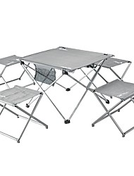 cheap -Camping Table Camping Folding Table with Stools Portable Ultra Light (UL) Foldable Compact Aluminium alloy 4 Stools 1 Table for 1 person Camping / Hiking Hunting Fishing Beach Autumn / Fall Spring
