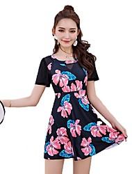cheap -Women's Sophisticated Strap Black Blue One-piece Swimwear Swimsuit - Floral Print XL XXL XXXL Black