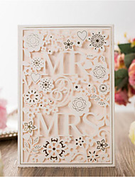 cheap -Flat Card Wedding Invitations 20pcs - Invitation Cards Artistic Style / Bride & Groom Style / Floral Embossed Paper Scattered Bead Floral Motif Style