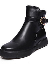 cheap -Women's Boots Flat Heel Round Toe Buckle Leatherette / PU Booties / Ankle Boots Fashion Boots / Bootie Fall / Winter Black / White