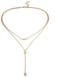 cheap -Women's Crystal Pendant Necklace Y Necklace Ladies Fashion Crystal Alloy Gold Silver Necklace Jewelry For Holiday Going out / Layered Necklace / Long Necklace