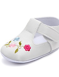 cheap -Girls' Comfort / First Walkers / Crib Shoes Leatherette Flats Infants(0-9m) Appliques / Magic Tape White / Black / Fuchsia Spring / Fall / Party & Evening