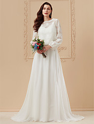 cheap -A-Line Wedding Dresses Bateau Neck Sweep / Brush Train Sheer Lace Corded Lace Cotton Long Sleeve Boho Separate Bodies with Appliques 2020 / Illusion Sleeve