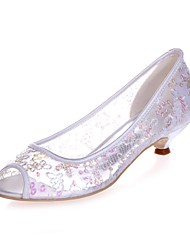 cheap -Women's Wedding Shoes Kitten Heel Peep Toe Satin Basic Pump Spring / Summer Light Blue / White / Ivory / Party & Evening