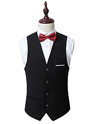 cheap -Men's Work Spring / Fall Regular Vest, Solid Colored V Neck Sleeveless Cotton / Spandex Black / Gray / Wine / Business Formal / Slim